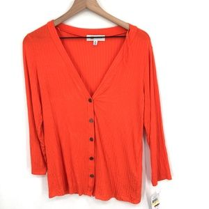 NEW Fever Button up Front Shirt top sweater ribbed classic red Orange M women's